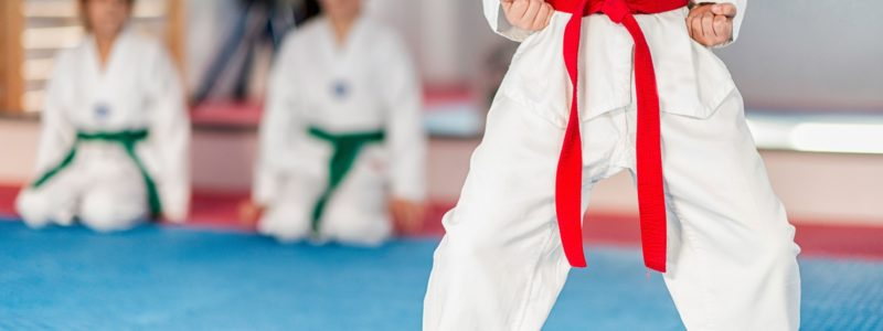 Taekwondo instructor working with boy